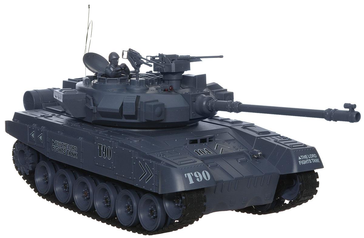 Balbi Танк на радиоуправлении Т-90 FMT-1601-AFMT-1601-AТанк на радиоуправлении Balbi Т-90 FMT-1601-A - отличный подарок не только ребенку, но и взрослому, с помощью которого можно устроить настоящий танковый бой в домашних условиях. Модель танка выполнена из качественного пластика с детализацией основных частей в масштабе 1:16. При включении и движении танка раздается звук работающего двигателя. У танка имеется три скорости движения вперед и две скорости движения назад. Модели доступен быстрый разворот влево/вправо. У танка регулируется угол наклона пушки с пульта ДУ. Угол вращения башни составляет 280 градусов. Танк имеет функцию выстреливать пульками 6 мм (функция отключается выключателем, спрятанным под крышкой люка). Имитация выстрела из пушки производится с откатом назад. При движении танка вперед загораются световые огни. Танк может преодолевать подъем в 45°. Фигурка командира танка и пулеметы в комплекте. В комплекте: танк, пульт управления, аккумулятор, зарядное устройство, фигурка командира, 2 пулемета,...