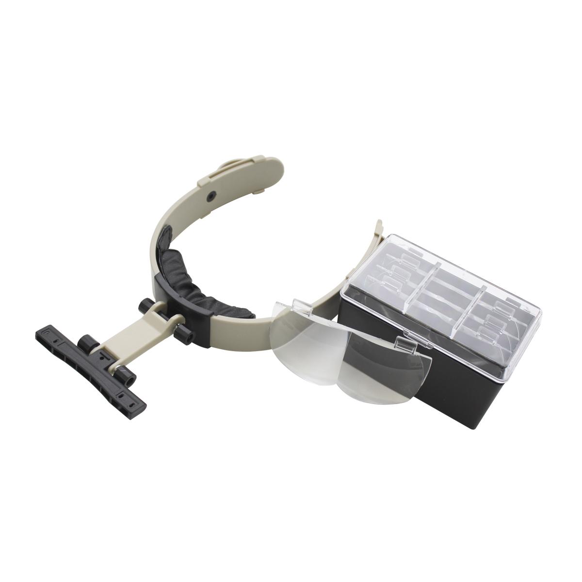 Лупа Bestex с креплением на голову. MG81002-A675295В набор входят 4 различные трехмерные линзы со степенями увеличения 1,2х , 1,8х, 2,5x, 3,5х. Длину крепления можно отрегулировать в зависимости от размера головы.