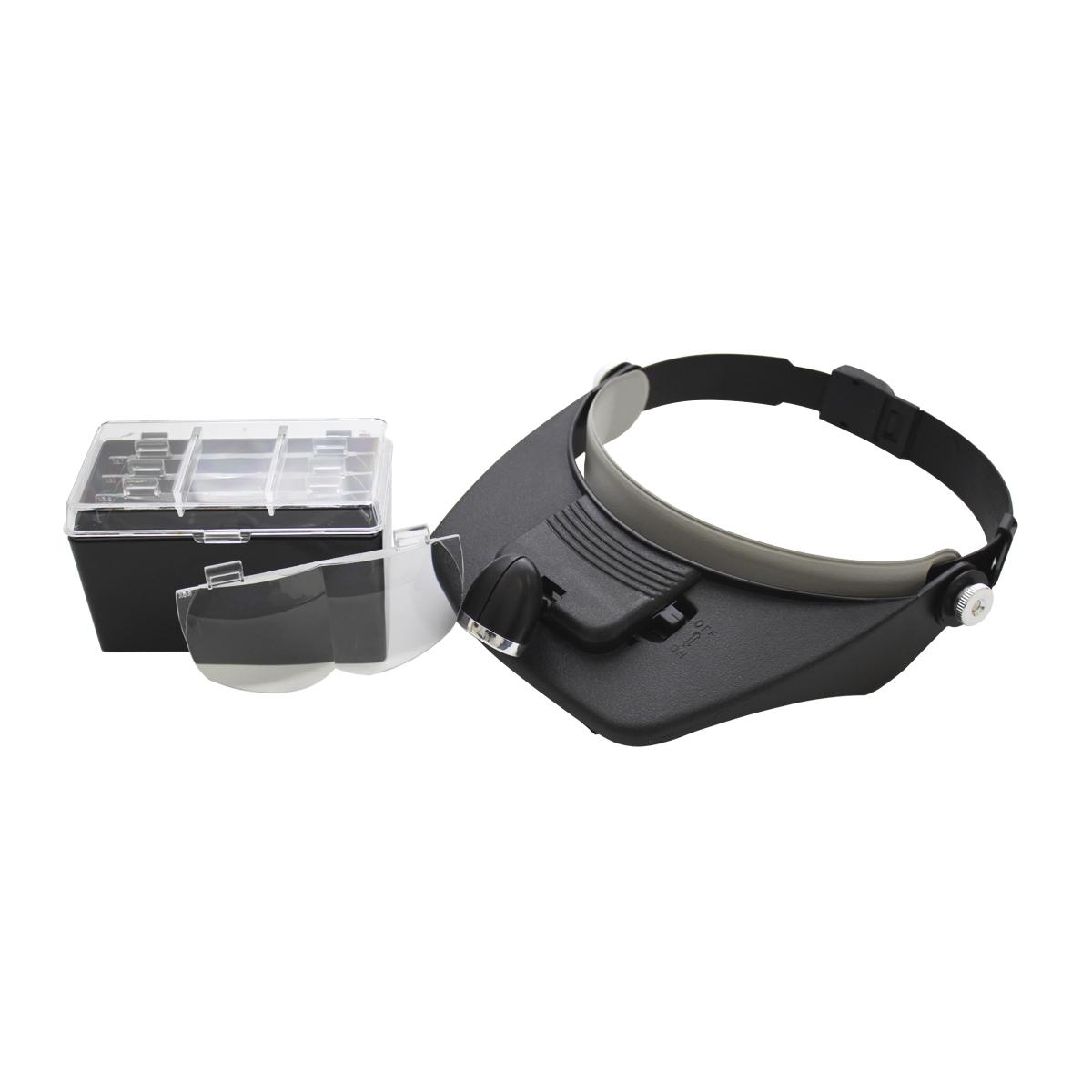 Лупа Bestex с креплением на голову и подсветкой. MG81001-A675296Светодиодная лампа работает от 2 батареек АА. В набор входят 4 различные трехмерные линзы со степенями увеличения 1.2х , 1.8х , 2.5 , 3.5х. Длину крепления можно отрегулировать в зависимости от размера головы.