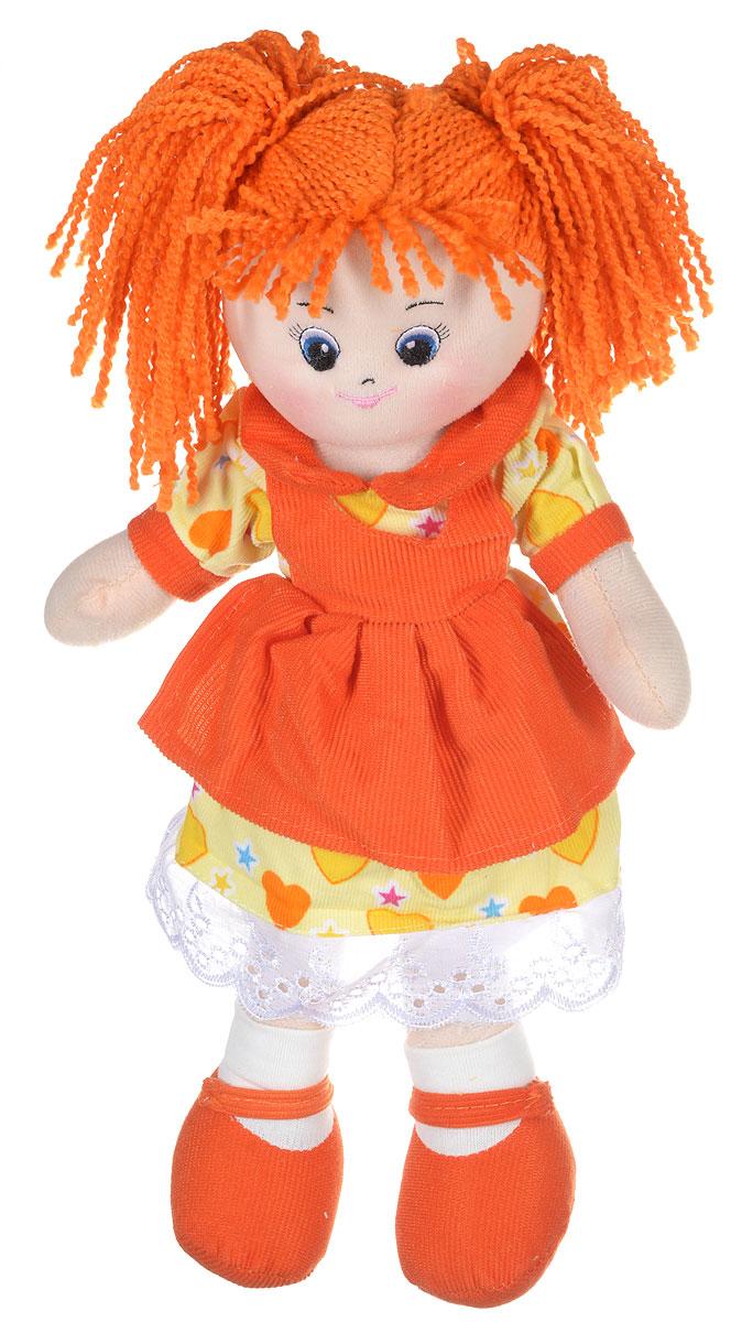 Gulliver Кукла Апельсинка в платье с сердечками30-11BAC3497Милая и привлекательная кукла Апельсинка подарит девочке множество игр. Кукла Апельсинка в платье с сердечками - эта та игрушка, которая нужна маленьким девочкам, чтобы улучшить их настроение. У куклы яркая позитивная расцветка и милое личико, ее просто невозможно не полюбить. Малышка сможет играть с ней на улице, брать в гости или в садик. Кукла от Gulliver большая модница и кокетка. На Апельсинке красивое платье с сердечками и оранжевым передником. На ногах белые носочки и оранжевые туфли. Волосы куклы рыжие, веревочные, заплетенные в два хвостика. Апельсинку можно посадить, и она будет спокойно сидеть без поддержки. Куклу можно одевать, примеряя ей разные наряды, можно вместе с мамой сшить ей новую одежду. Куклы учат быть аккуратнее, опрятнее, они помогают развивать стилистический и эстетический вкус, воображение и фантазию, а также моторику рук.
