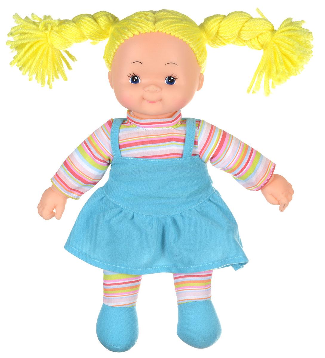 Simba Кукла мягкая Долли цвет платья голубой5112238_волосы желтые, платье голубоеМягкая кукла Simba Долли непременно понравится малышке, она быстро привлечет внимание своей яркой расцветкой, добрым взглядом и красивым праздничным нарядом. Малышка с удовольствием придумает много детских игр, которые от души порадуют ее и подарят хорошее настроение на целый день. Красивая и мягкая на ощупь кукла обязательно заинтересует девочку и увлечет ее в мир удивительных игр. Кукла одета в праздничное платье голубого цвета. Очаровательные волосы желтого цвета, сплетенные из нитей, дополняют прекрасный образ куклы. Мягкая кукла Simba Долли развивает тактильную чувствительность, стимулируют зрительное восприятие, хватательные рефлексы и моторику рук.