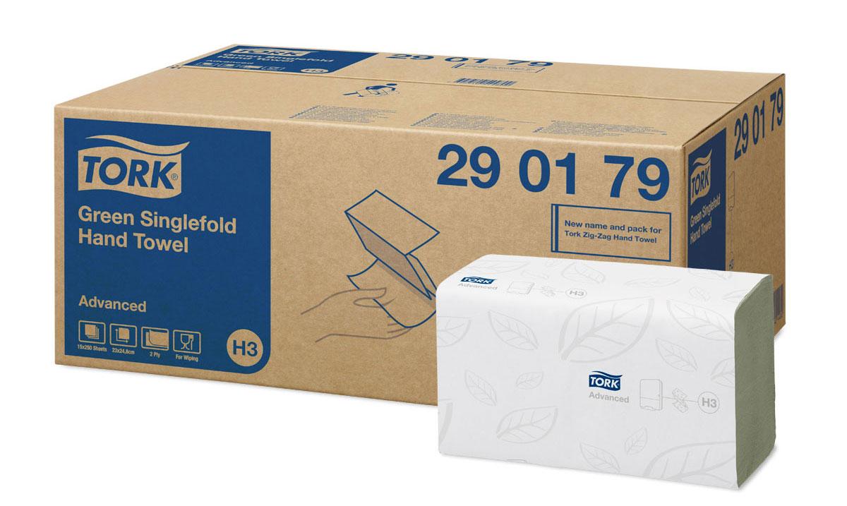 Tork листовые полотенца Singlefold сложения ZZ зеленые 2-сл 250л, коробка 15 шт290179Целлюлоза