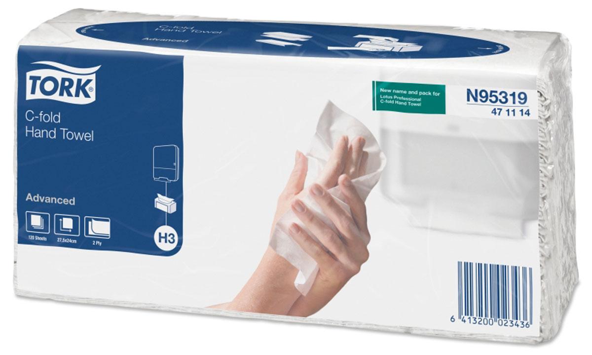 N95319 Tork листовые полотенца Singlefold C-сложения 2-сл 120л, коробка 20 шт471114Двухслойные полотенца C-сложения подойдут как для вытирания рук, так и для протирки различных поверхностей. Площадь листа на 32% больше чем у аналогичных полотенец Z-сложения. Полотенца упакованы в полиэтиленовую пленку, позволяющую легко переносить пакет и использовать полотенца без диспенсера. Система Н3. Категория качества – Advanced. Цвет – белый Состав: переработанное сырье. Размеры: 120 листов в упаковке, размер листа 240мм х 275мм, 20 упаковок в коробке.