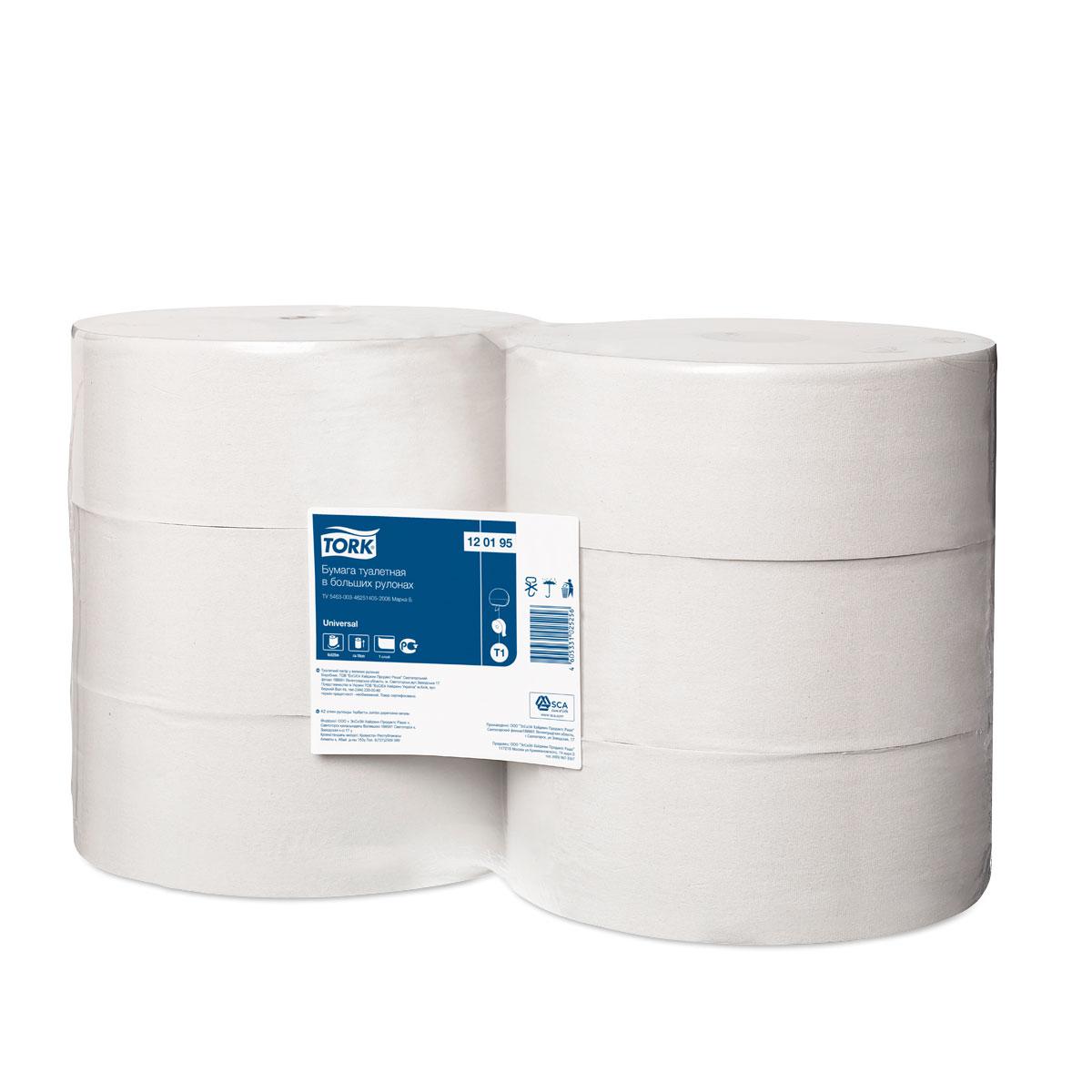Tork туалетная бумага в больших рулонах 1-сл 525м, коробка 6 шт120095Туалетная бумага Торк в больших рулонах, однослойная. Подходит для туалетных комнат очень высокой проходимости: - Высокая емкость: минимум обслуживания - Экономичная длина рулона Система Т1. Категория качества – Universal. Состоит из переработанного сырья. Цвет - натуральный. Без перфорации. Длина рулона 525 м, ширина 10см. В 1 коробке 6 рулонов.