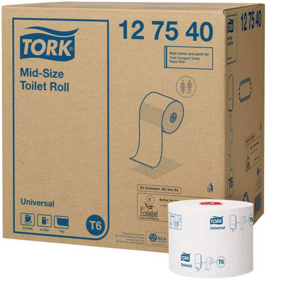Tork туалетная бумага Mid-size в миди рулонах 1-сл. 135м, коробка 27 шт127540Целлюлоза