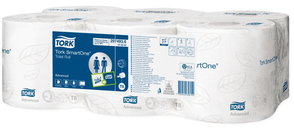 Tork SmartOne туалетная бумага в рулонах 2сл 207м, коробка 6 шт472242Мягкая 2-слойная бумага Торк в рулоне с центральной вытяжкой для полистовой подачи бумаги. Рулон снабжен легковынимаемой центральной втулкой, при этом остается свободный конец рулона, который заправляется в отверстие диспенсера. Рекомендуется для мест с высокой проходимостью. Система Т8. Категория качества - Advanced. В рулоне 1150 листов, 180мм, 134мм. В упаковке 6 рулонов.