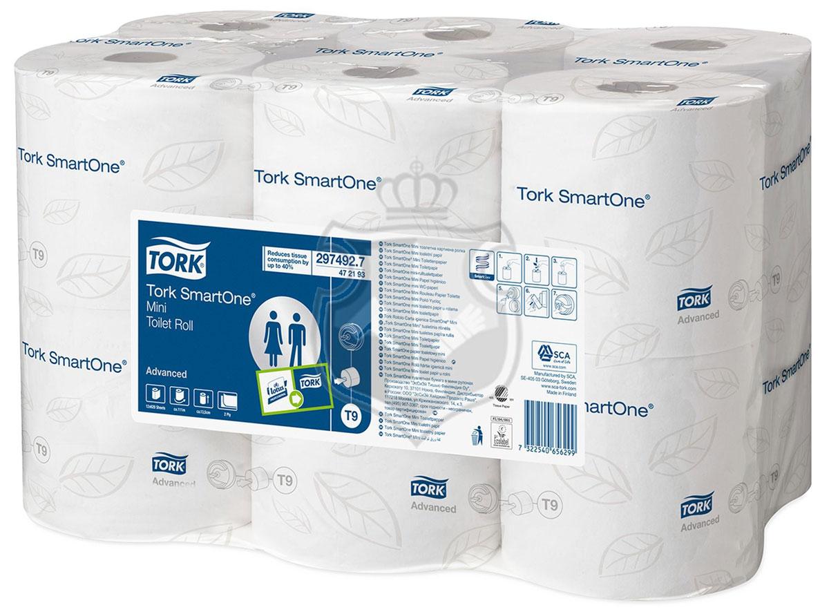 Tork SmartOne туалетная бумага в мини рулонах 2сл 112м, коробка 12 шт472193Мягкая 2-слойная бумага Торк в рулоне с центральной вытяжкой для полистовой подачи бумаги. Рулон снабжен легковынимаемой центральной втулкой, при этом остается свободный конец рулона, который заправляется в отверстие диспенсера. Рекомендуется для мест с высокой проходимостью. Система Т9. Категория качества - Advanced. В рулоне 620 листов, размер листа 180х134мм. 12 рулонов в упаковке.