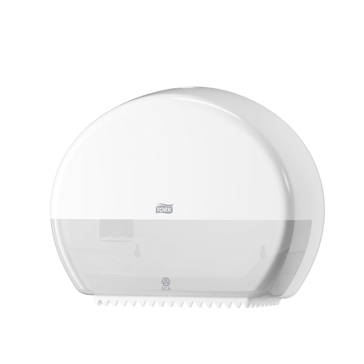 Диспенсер для туалетной бумаги Tork, цвет: белый. 555000555000Система T2 - для туалетной бумаги в мини рулонах Держатель изготовлен из ударопрочного пластика белого цвета. Функция Stub Roll позволяет сэкономить до 35 м бумаги. Снабжен специальными зубчиками, которые подходят для отрыва полотна как с перфорацией, так и без нее. Открывается двумя альтернативными способами: ключом и кнопкой. Вмещает рулон длиной до 200 метров.