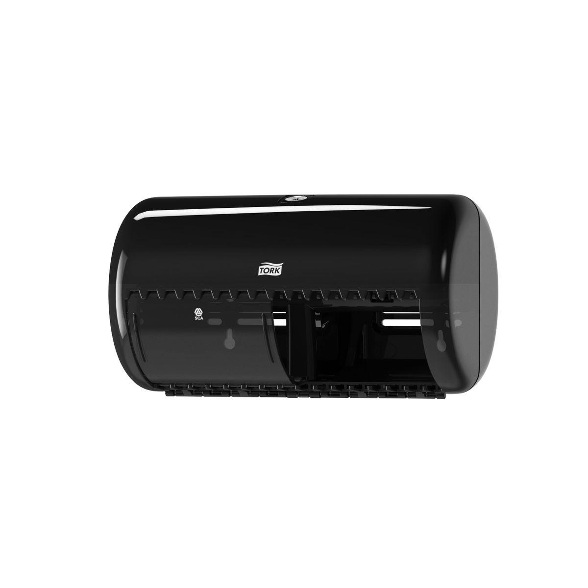 Диспенсер для туалетной бумаги Tork, цвет: черный. 557008557008Система Т4 - бумага в стандартных рулончиках. Практичный компактный диспенсер, вмещающий 2 стандартных рулона туалетной бумаги. Бумага легко отрывается с помощью удобных зубцов, даже не имея перфорации, защищается от повреждений и кражи. Диспенсер открывается с помощью ключа или нажатием на кнопку. В комплект входит инструкция по заправке и использованию.