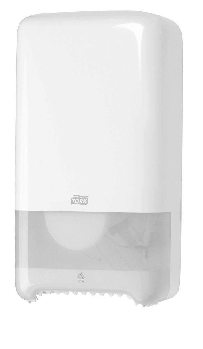 Диспенсер для туалетной бумаги Tork, цвет: белый. 557500557500Система Т6 - бумага в миди рулонах. Надежный функциональный диспенсер на 2 рулона бумаги по 100 м, требующий минимального обслуживания благодаря инновационной системе с автоматической заменой рулона. Диспенсер можно перезаправлять и после использования одного рулона. Открывается с помощью ключа или нажатием на кнопку. Внутри предусмотрено место для визитной карточки и уровнемер для быстрого монтажа. Подходит для использования в туалетных комнатах средней проходимости.