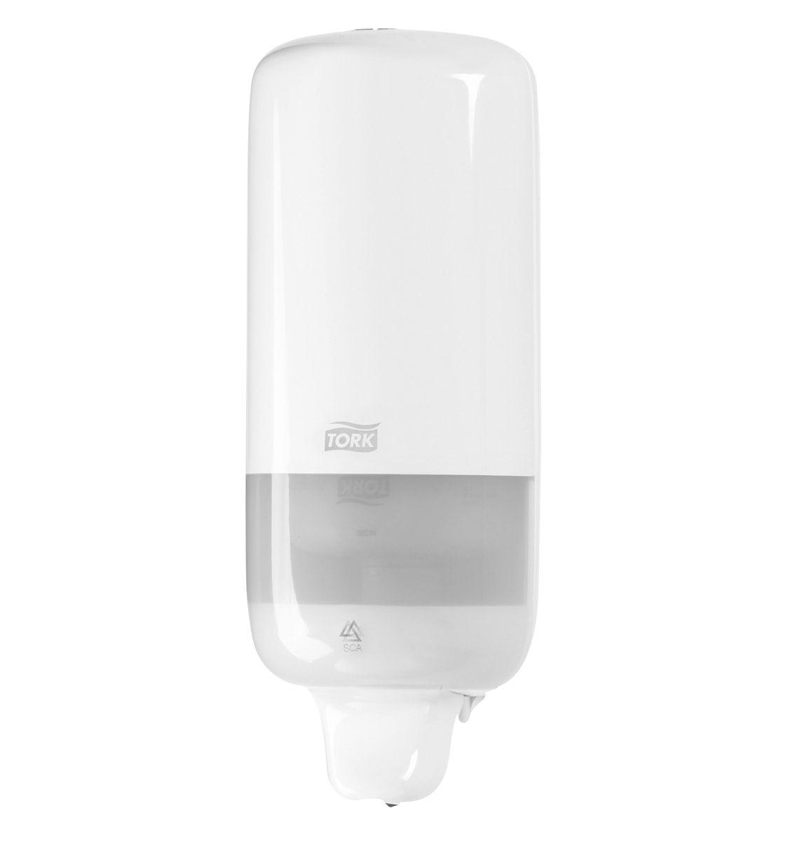Диспенсер для мыла Tork, цвет: белый. 560000560000Диспенсер Tork подходит для использования в туалетных комнатах всех размеров и уровня проходимости. Ударопрочный пластик - отвечает всем требованиям гигиены. Надежная система подачи - экономичный расход, исключает протекание. 1000 порций мыла. В комплекте крепеж и лекало для установки.