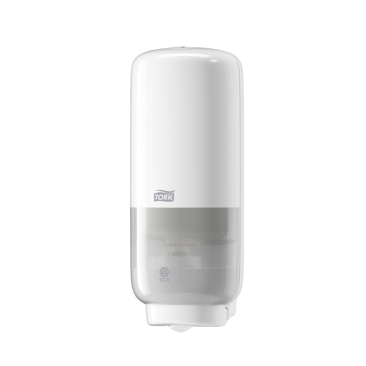 Диспенсер для мыла Tork, цвет: белый. 561600561600Система S4 - Жидкое Мыло-пена Диспенсеры серии Tork Elevation удачно сочетают стильный дизайн и функциональность, и подходят для любых туалетных комнат. Изготовлены из ударопрочного пластика ABS • Работают на картриджах мыла-пены Tork системы S4 • Сенсорный механизм подачи мыла • Цветовые индикаторы расхода картриджа и заряда батареи • Перезаправка за несколько секунд • Дозирует 0,4мл мыла-пены