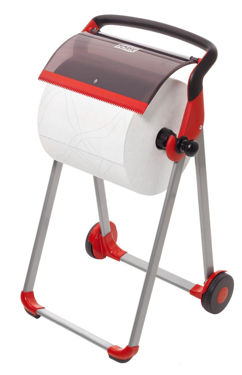 Диспенсер для туалетной бумаги Tork, цвет: красный. 652008652008Держатель для протирочных материалов Tork. Напольный держатель оснащен колёсной базой для более лёгкого перемещения, устойчивый и прочный каркас. Быстро и легко менять расходный материал.