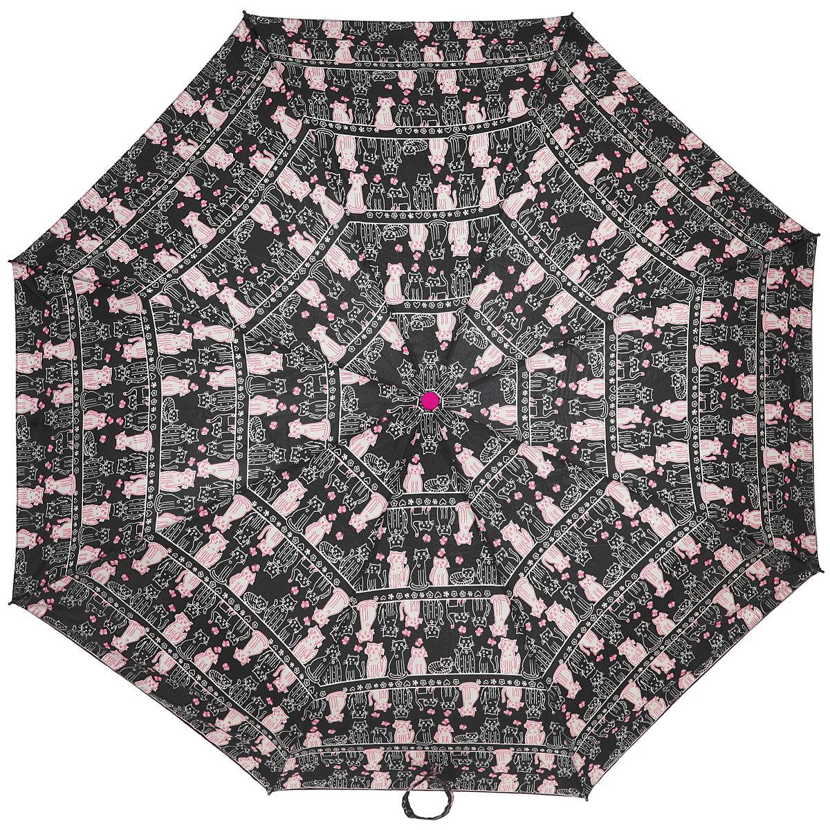 Зонт женский Labbra, автомат, 3 сложения, цвет: черный, розовый. A3-05-036A3-05-036Яркий зонт Labbra оформлен орнаментом с изображением кошек. Каркас зонта изготовлен из стали и фибергласса, содержит восемь спиц, а также дополнен эргономичной рукояткой из пластика. Купол выполнен из полиэстера с водоотталкивающей пропиткой. Зонт имеет автоматический механизм сложения: купол открывается и закрывается нажатием кнопки на рукоятке, стержень складывается вручную до характерного щелчка, благодаря чему открыть и закрыть зонт можно одной рукой, что чрезвычайно удобно при входе в транспорт или помещение. Рукоятка дополнена удобной петлей. К зонту прилагается чехол. Практичный аксессуар даже в ненастную погоду позволит вам оставаться стильной и элегантной.