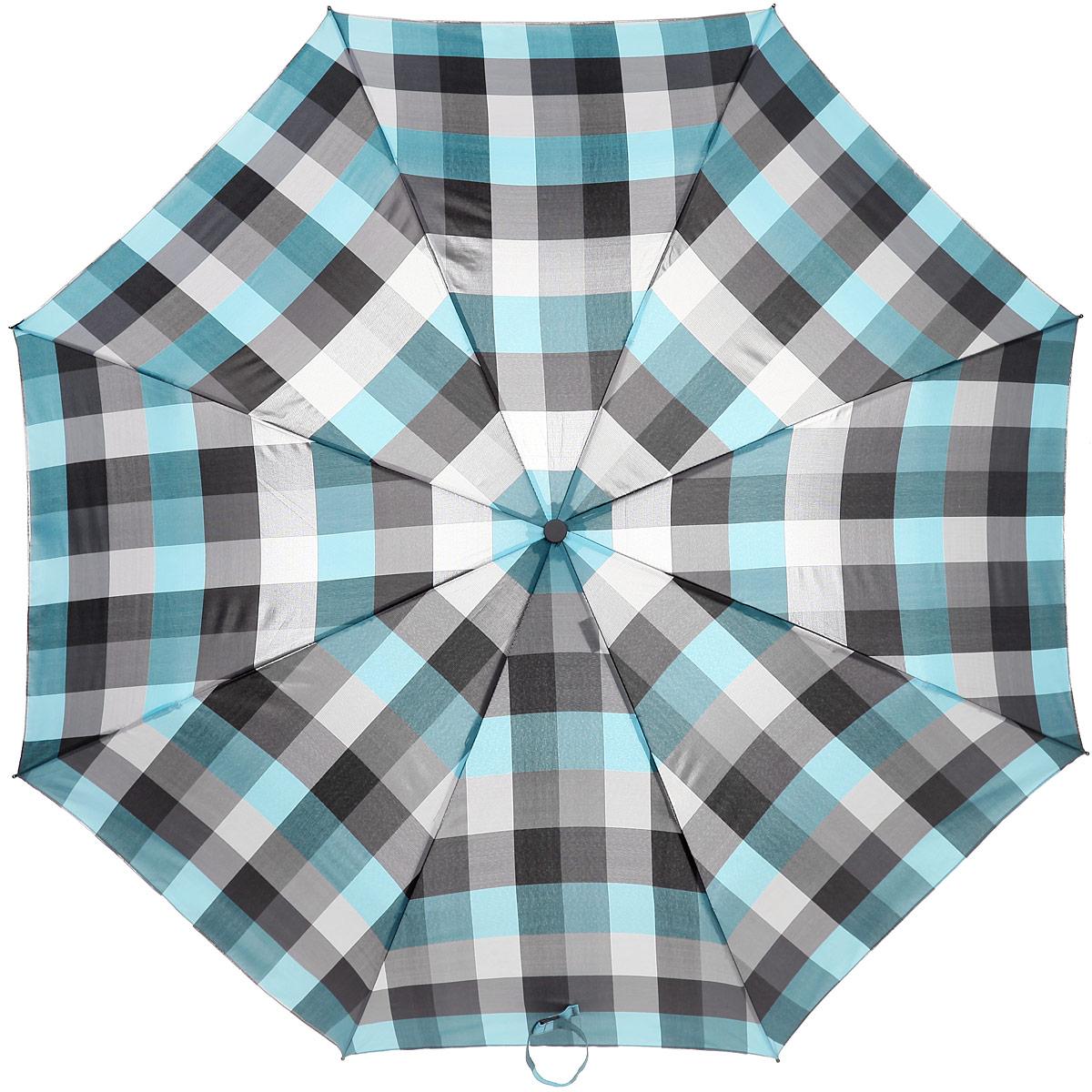 Зонт женский Labbra, автомат, 3 сложения, цвет: голубой, серый. A3-05-033A3-05-033Яркий зонт Labbra оформлен оригинальным клетчатым принтом. Каркас зонта изготовлен из стали и фибергласса, содержит восемь спиц, а также дополнен эргономичной рукояткой из пластика. Купол выполнен из полиэстера с водоотталкивающей пропиткой. Зонт имеет автоматический механизм сложения: купол открывается и закрывается нажатием кнопки на рукоятке, стержень складывается вручную до характерного щелчка, благодаря чему открыть и закрыть зонт можно одной рукой, что чрезвычайно удобно при входе в транспорт или помещение. Рукоятка дополнена удобной петлей. К зонту прилагается чехол. Практичный аксессуар даже в ненастную погоду позволит вам оставаться стильной и элегантной.
