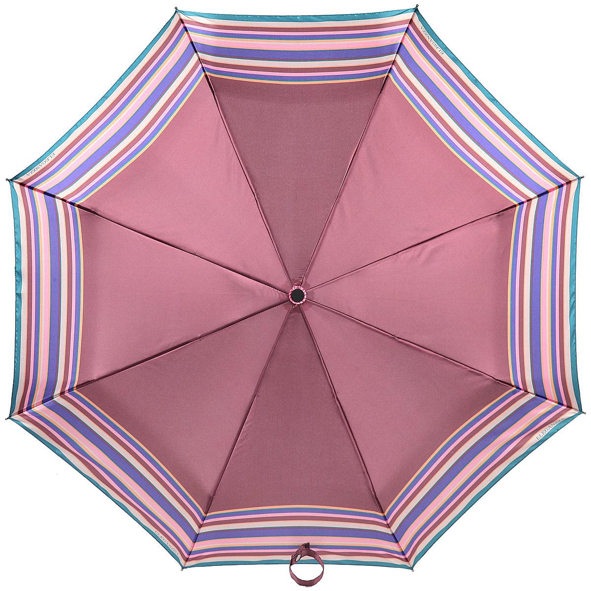 Зонт женский Eleganzza, автомат, 3 сложения, цвет: лиловый. A3-05-0278SA3-05-0278SЯркий зонт Eleganzza оформлен полосатым принтом. Каркас зонта изготовлен из алюминия и фибергласса, содержит восемь спиц, а также дополнен эргономичной рукояткой из пластика. Купол выполнен из полиэстера с водоотталкивающей пропиткой. Зонт имеет автоматический механизм сложения: купол открывается и закрывается нажатием кнопки на рукоятке, стержень складывается вручную до характерного щелчка, благодаря чему открыть и закрыть зонт можно одной рукой, что чрезвычайно удобно при входе в транспорт или помещение. Рукоятка дополнена удобной петлей. К зонту прилагается чехол. Практичный аксессуар даже в ненастную погоду позволит вам оставаться стильной и элегантной.