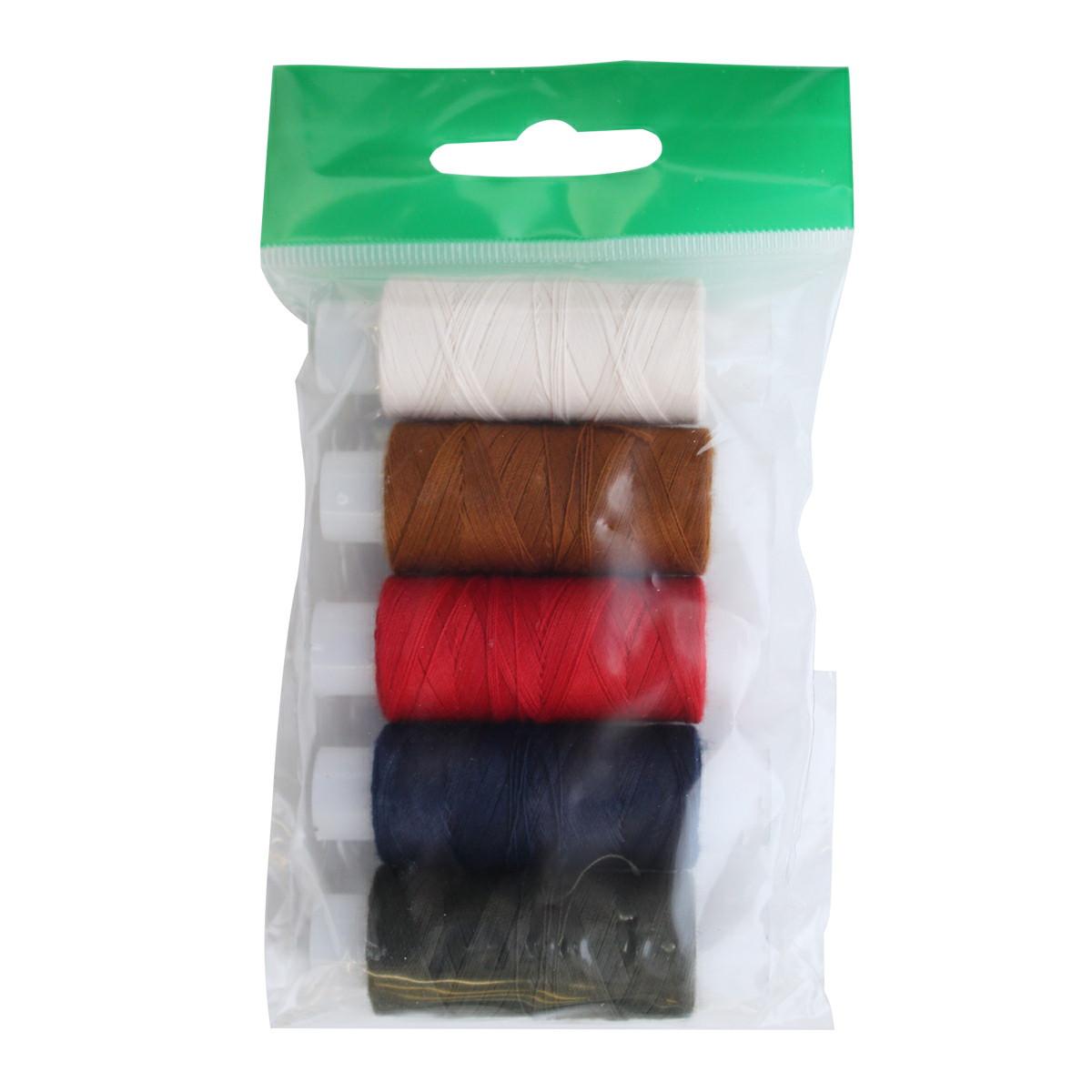 Набор цветных ниток ПНК им. Кирова, 45ЛЛ, 150 м, 5 шт131047Армированные нитки 45ЛЛ универсальны, используются при пошиве изделий из костюмных и пальтовых тканей, обуви, мебели. Производится нитка путём соединения стержня из полиэфирной комплексной нити и оплётки из полиэфирного волокна.