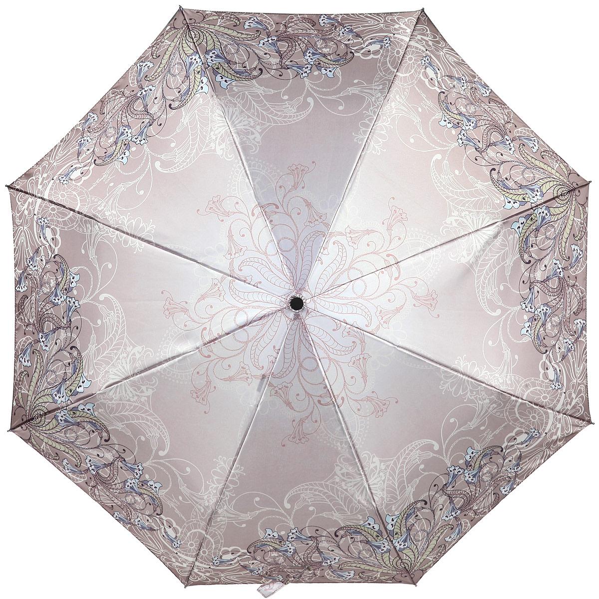 Зонт женский Eleganzza, автомат, 3 сложения, цвет: серо-коричневый. A3-05-0289LSA3-05-0289LSЯркий зонт Eleganzza оформлен цветочным принтом. Каркас зонта изготовлен из алюминия и фибергласса, содержит восемь спиц, а также дополнен эргономичной рукояткой из пластика. Купол выполнен из полиэстера с водоотталкивающей пропиткой. Зонт имеет автоматический механизм сложения: купол открывается и закрывается нажатием кнопки на рукоятке, стержень складывается вручную до характерного щелчка, благодаря чему открыть и закрыть зонт можно одной рукой, что чрезвычайно удобно при входе в транспорт или помещение. Рукоятка дополнена удобной петлей. К зонту прилагается чехол. Практичный аксессуар даже в ненастную погоду позволит вам оставаться стильной и элегантной.