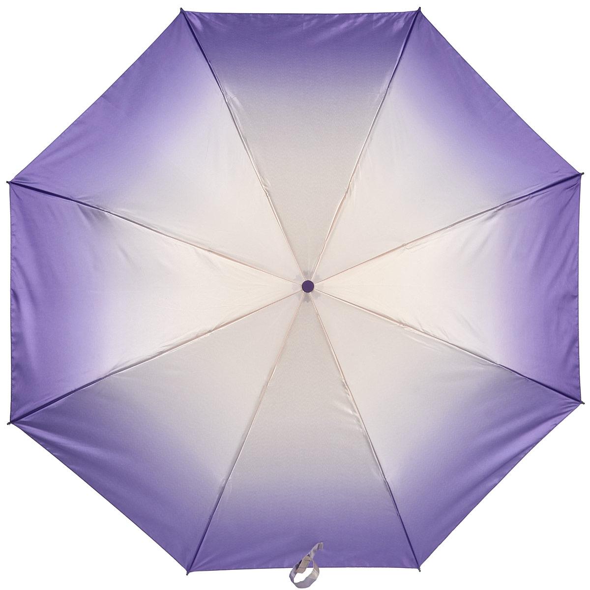 Зонт женский Labbra, автомат, 3 сложения, цвет: лиловый, бежевый. A3-05-024A3-05-024Яркий зонт Labbra оформлен в двух цветах с помощью плавного перехода от одного цвета к другому. Каркас зонта изготовлен из стали и фибергласса, содержит восемь спиц, а также дополнен эргономичной рукояткой из пластика. Купол выполнен из полиэстера с водоотталкивающей пропиткой. Зонт имеет автоматический механизм сложения: купол открывается и закрывается нажатием кнопки на рукоятке, стержень складывается вручную до характерного щелчка, благодаря чему открыть и закрыть зонт можно одной рукой, что чрезвычайно удобно при входе в транспорт или помещение. Рукоятка дополнена удобной петлей. К зонту прилагается чехол. Практичный аксессуар даже в ненастную погоду позволит вам оставаться стильной и элегантной.