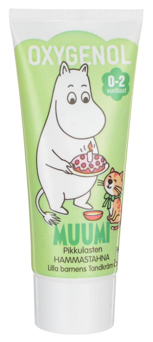 Berner Зубная паста Oxygenol Muumi, детская, цвет: зеленый, от 0-2 лет, 50 мл10968Детская зубная паста Oxygenol Muumi разработана специально для защиты молочных зубов. Содержит фтор, который укрепляет зубную эмаль и защищает от кариеса. Эффективно и нежно очищает зубной налет. Имеет натуральный фруктовый вкус. Герои сказки о Муми-Троллях превратят чистку зубов в увлекательное занятие. Товар сертифицирован.