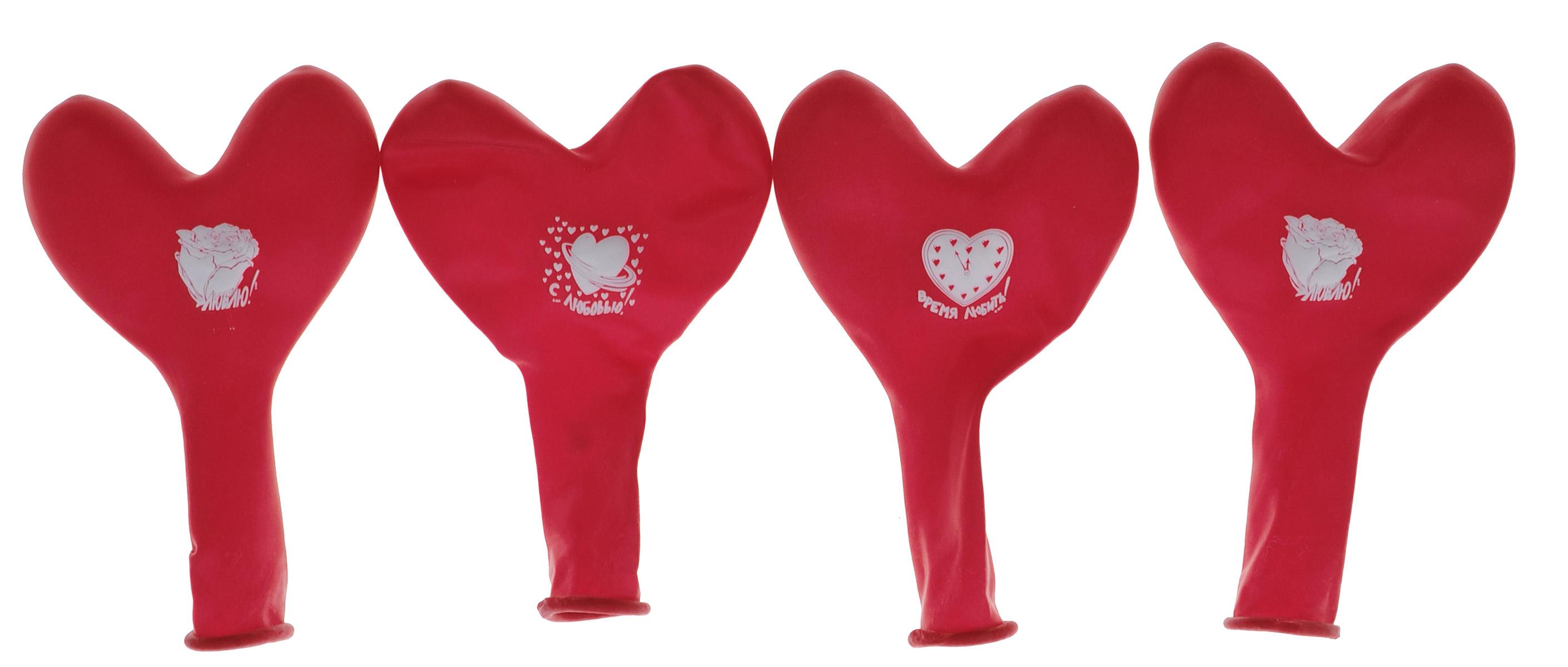 Амурная затея Набор воздушных шаров Сердце 4 шт1111-0362Набор воздушных шаров Амурная затея Сердце - это романтическое украшение праздника! Изготовлены из натурального латекса. Свадьба, 14 февраля или просто признание в любви - воздушные шарики в форме сердечка сделают любое событие незабываемым!