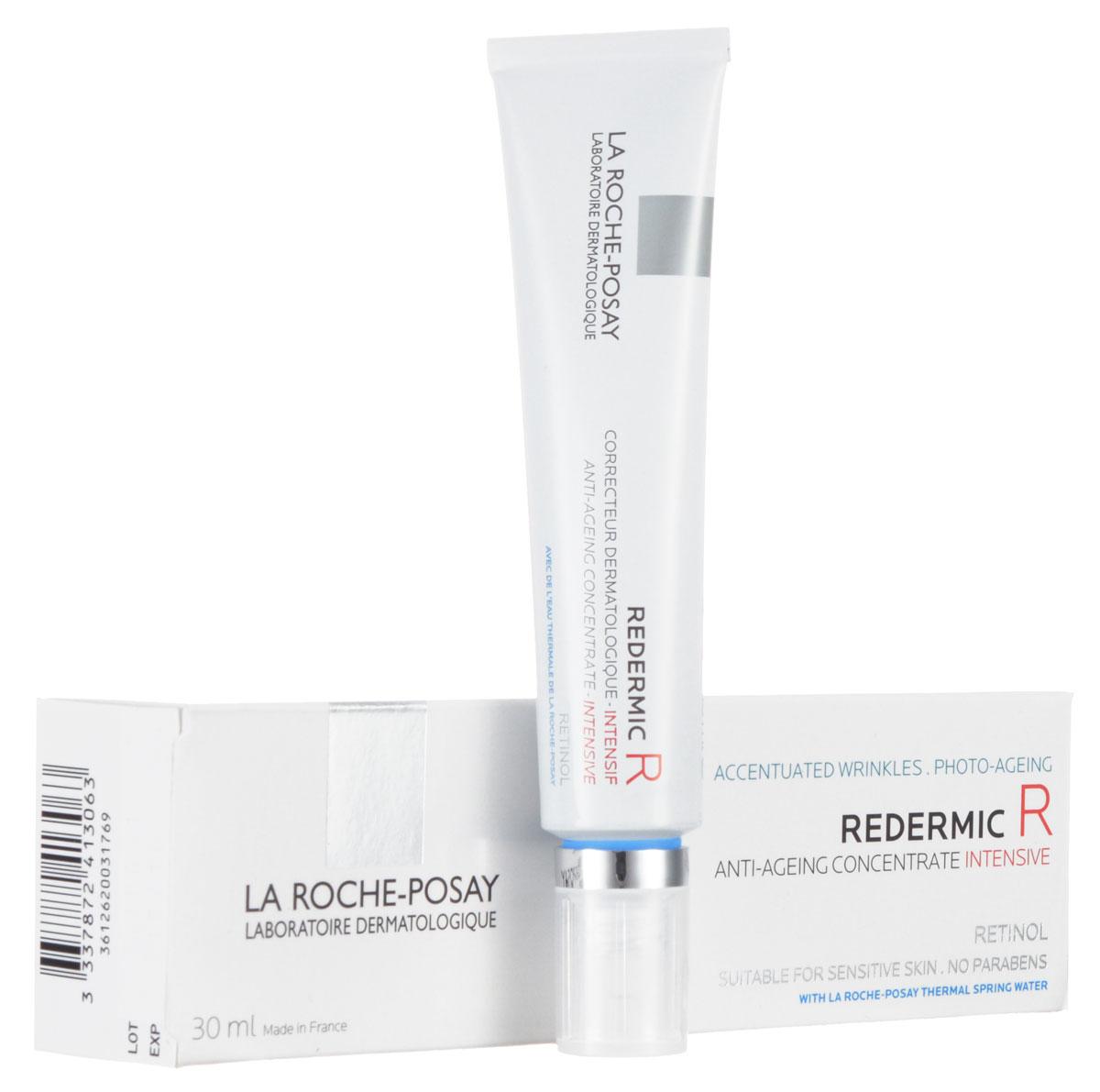 La Roche-Posay Концентрированный антивозрастрастной уход Redermic 35-55 лет 30 млM3410500Концентрированный антивозрастной уход разглаживает даже выраженные морщины. Поверхность кожи преобразуется: рельеф кожи выравнивается, становится однородным. Пигментация менее выражена. Революционная формула: - Чистый ретинол 0,1%: мощный компонент для борьбы с признаками фотостарения. Стимулирует выработку коллагена, выравнивает поверхность кожи, нейтрализует пигментацию. - Ретинол последовательного высвобождения 0,2%: ретинол, связанный с линолевой кислотой и аденозином, постепенно высвобождается небольшими дозами для оптимальной переносимости. - LHA-кислоты 0,3%: оказывают разглаживающее действие, мягко отшелушивают ороговевшие клетки кожи для лучшего проникновения активных ингредиентов.