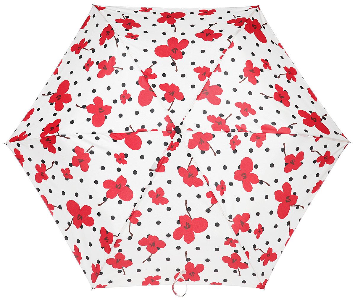 Зонт женский Labbra, автомат, 3 сложения, цвет: красный, белый, черный. A3-05-LF027A3-05-LF027Яркий зонт Labbra оформлен принтом с изображением цветов. Каркас зонта изготовлен из стали, алюминия и фибергласса, содержит шесть спиц, а также дополнен эргономичной рукояткой из пластика. Купол выполнен из полиэстера с водоотталкивающей пропиткой. Зонт имеет автоматический механизм сложения: купол открывается и закрывается нажатием кнопки на рукоятке, стержень складывается вручную до характерного щелчка, благодаря чему открыть и закрыть зонт можно одной рукой, что чрезвычайно удобно при входе в транспорт или помещение. Рукоятка дополнена удобной петлей. К зонту прилагается чехол. Практичный аксессуар даже в ненастную погоду позволит вам оставаться стильной и элегантной.