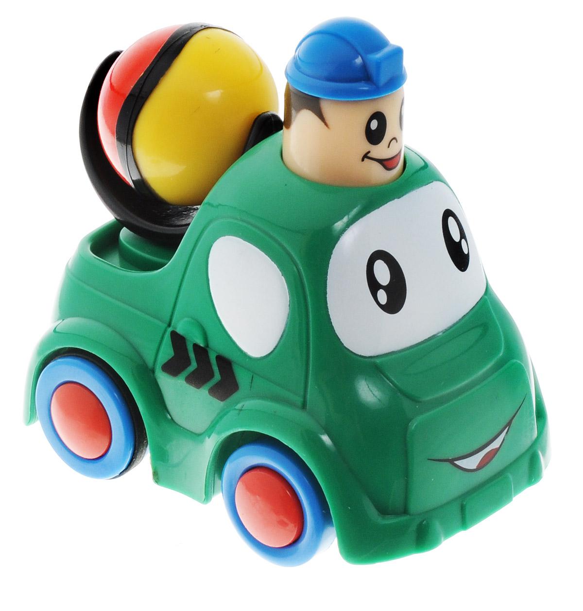 Simba Инерционная Мини-машинка цвет зеленый4019516_с шаромМини-машинка Simba привлечет внимание вашего ребенка и надолго останется его любимой игрушкой. Плавные формы без острых углов, яркие цвета - все это выгодно выделяет эту игрушку из ряда подобных. Кузов дополнен крутящимся шариком. Игрушка оснащена инерционным ходом. Необходимо нажать на голову водителя и отпустить - и машинка быстро поедет вперед. Машинка развивает концентрацию внимания, координацию движений, мелкую моторику рук, цветовое восприятие и воображение. Малыш будет часами играть с этой машинкой, придумывая разные истории.