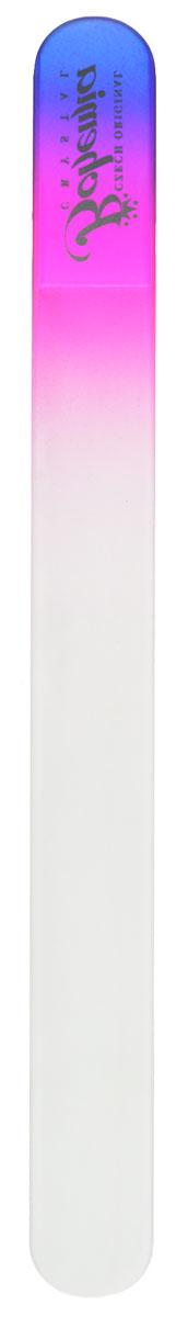 Bohemia Пилочка для ногтей, стеклянная, чехол из мягкого пластика, цвет: фиолетовый, розовый