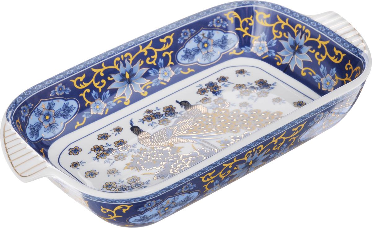 Шубница Elan Gallery Синий павлин, 900 мл503529Шубница Elan Gallery Синий павлин, выполненная из высококачественной керамики, идеальное блюдо для сервировки традиционного салата Сельдь под шубой или любого другого слоеного салата. Компактное, аккуратное блюдо с ручками для удобства станет незаменимым при любом застолье. Не рекомендуется применять абразивные моющие средства. Не использовать в микроволновой печи. Объем: 900 мл. Размер блюда (с учетом ручек): 29 х 16 см.