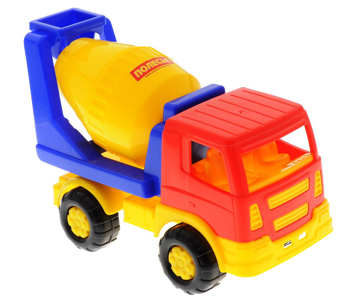 Полесье Бетоновоз Салют цвет желтый синий красный8953_желтый, синийЯркий бетоновоз Салют, изготовленный из прочного безопасного пластика, отлично подойдет ребенку для различных игр. Бетоновоз оснащен вращающейся бочкой для перемешивания цемента во время транспортировки. Кузов с бочкой может опускаться назад. Большие ребристые колеса со свободным ходом обеспечивают игрушке устойчивость и хорошую проходимость. Ваш юный строитель сможет прекрасно провести время дома или на улице, создавая свою стройку.