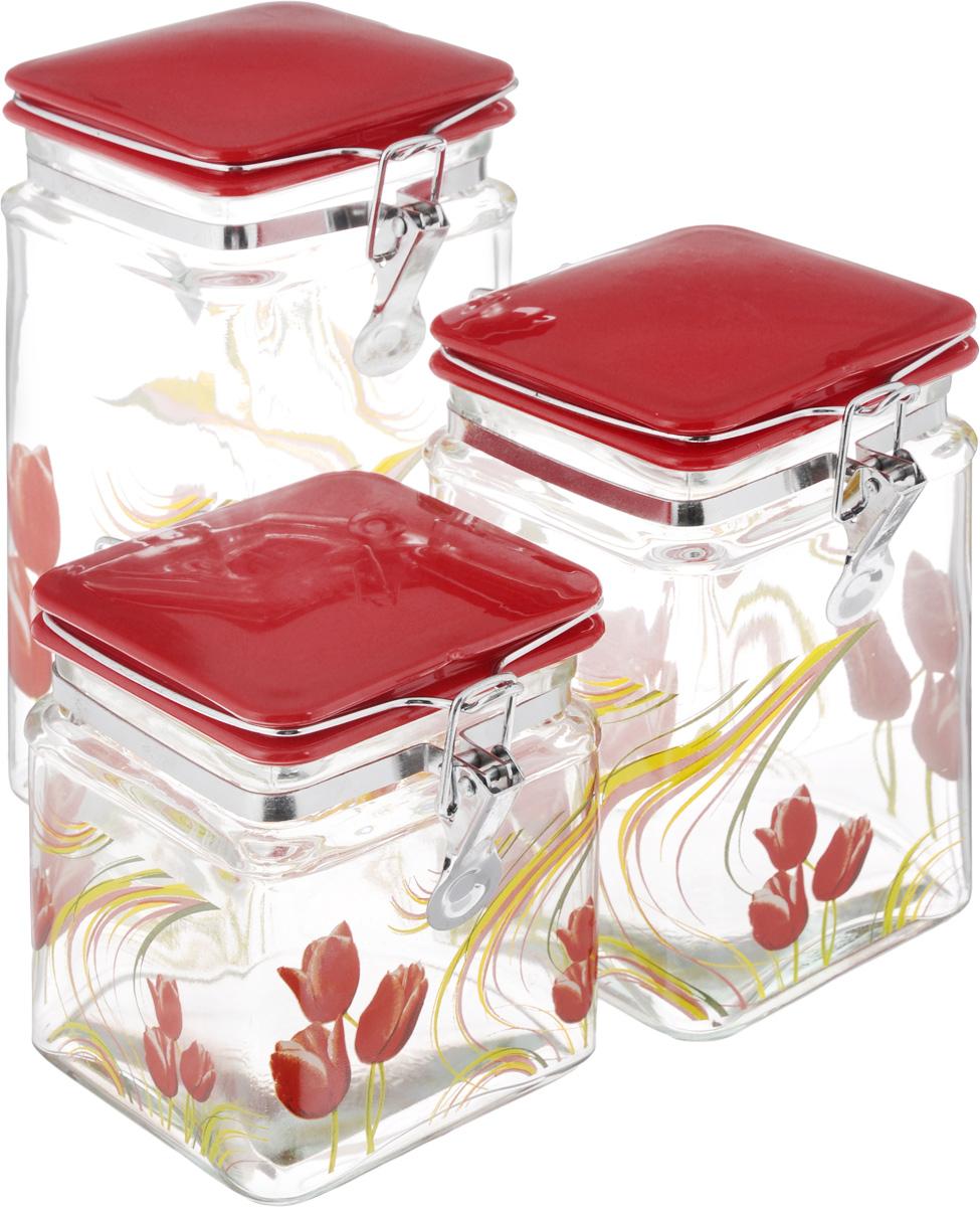 Набор банок для сыпучих продуктов Loraine, цвет: красный, прозрачный, 3 шт. 23592359_красныйНабор Loraine состоит из трех банок разного объема, предназначенных для хранения сыпучих продуктов. Изделия выполнены из высококачественного стекла и декорированы изображением тюльпанов. Акриловые крышки оснащены специальными металлическими фиксаторами, которые позволяют герметично закрывать емкости и сохранить свежесть продуктов. Банки прекрасно подходят для круп, орехов, сухофруктов, чая, кофе, сахара и многого другого. Оригинальный и необычный дизайн набора Loraine прекрасно впишется в интерьер вашей кухни. А также станет желанным подарком для любой хозяйки. Объем банок: 600 мл, 900 мл, 1,25 л. Размер банок: 10 х 10 х 12 см; 10 х 10 х 16 см; 10 х 10 х 20 см.