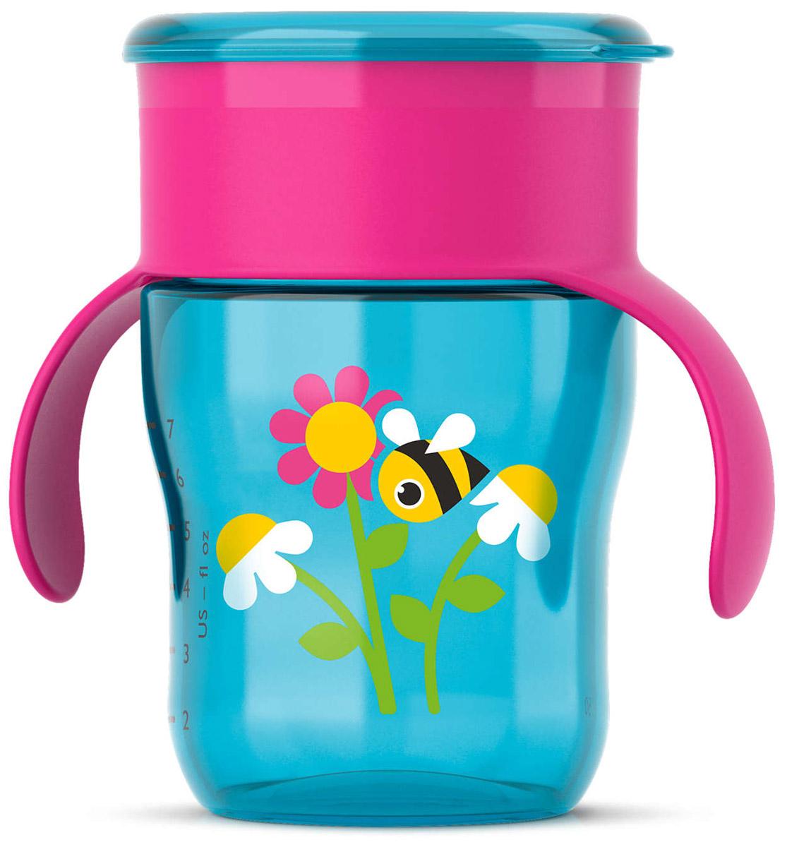 Philips Avent Чашка-поильник от 12 месяцев цвет голубой фуксия 260 мл пчелка SCF782/20