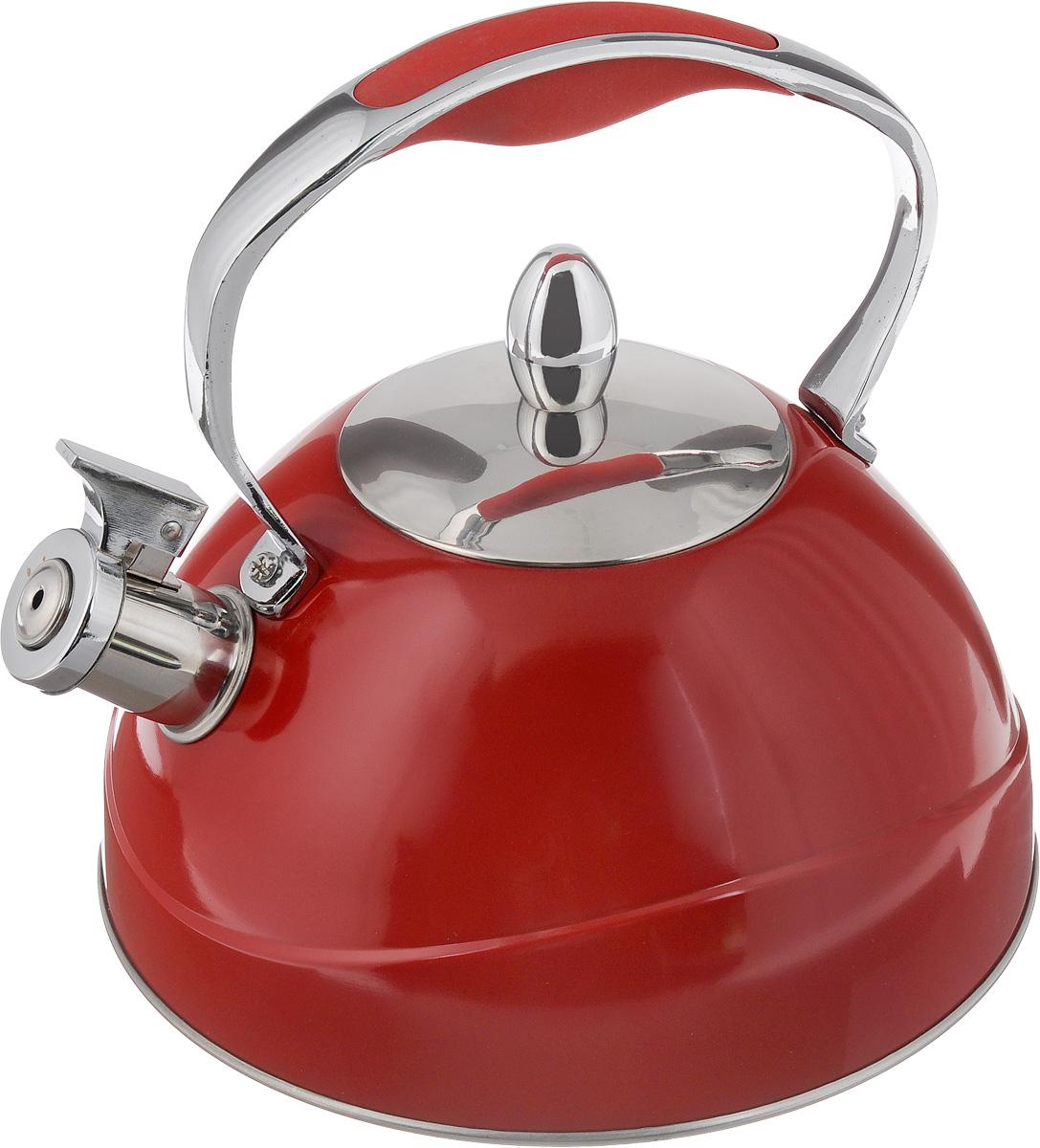 Чайник Mayer & Boch, со свистком, цвет: красный, 2,6 л22416_красныйЧайник Mayer & Boch выполнен из высококачественной нержавеющей стали с матовым покрытием, что делает его гигиеничным и устойчивым к износу при длительном использовании. Нержавеющая сталь не окисляется и не впитывает запахи, напитки всегда ароматные и имеют настоящий вкус. Капсулированное дно с прослойкой из алюминия обеспечивает наилучшее распределение тепла. Носик чайника оснащен насадкой-свистком, что позволит вам контролировать процесс подогрева или кипячения воды. Фиксированная ручка изготовлена из стали с силиконовым покрытием. Поверхность чайника гладкая, что облегчает уход. Эстетичный и функциональный, с эксклюзивным дизайном, такой чайник будет оригинально смотреться в любом интерьере. Подходит для электрических, газовых, стеклокерамических и галогеновых плит. Не подходит для индукционных плит. Можно мыть в посудомоечной машине. Высота чайника (без учета ручки и крышки): 11 см. Высота чайника (с учетом ручки и крышки): 22,5 см. Диаметр...