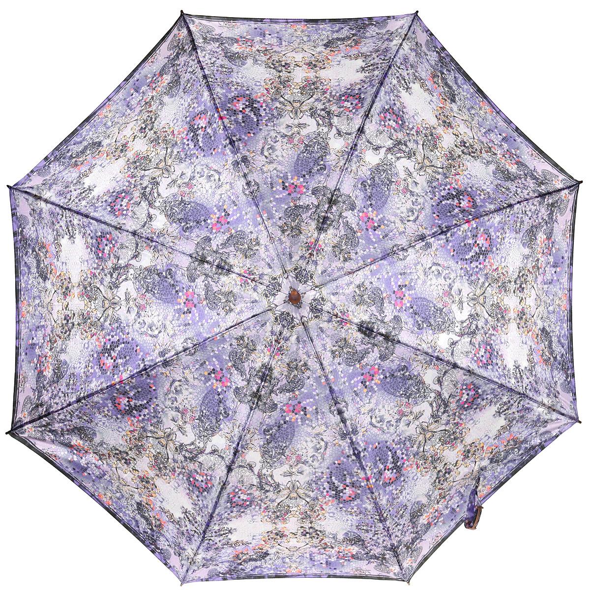 Зонт-трость женский Eleganzza, полуавтомат, цвет: лиловый. T-06-0275T-06-0275Яркий зонт-трость Eleganzza оформлен оригинальным принтом, а также дополнен металлической фурнитурой с символикой бренда. Каркас зонта изготовлен из стали и фибергласса, содержит восемь спиц, а также дополнен эргономичной рукояткой из акрила. Купол выполнен из полиэстера с водоотталкивающей пропиткой. Зонт имеет полуавтоматический механизм сложения: купол открывается нажатием кнопки на рукоятке, стержень и купол складываются вручную до характерного щелчка, благодаря чему открыть зонт можно одной рукой, что чрезвычайно удобно при выходе из транспорта или помещения. Практичный аксессуар даже в ненастную погоду позволит вам оставаться стильной и элегантной.