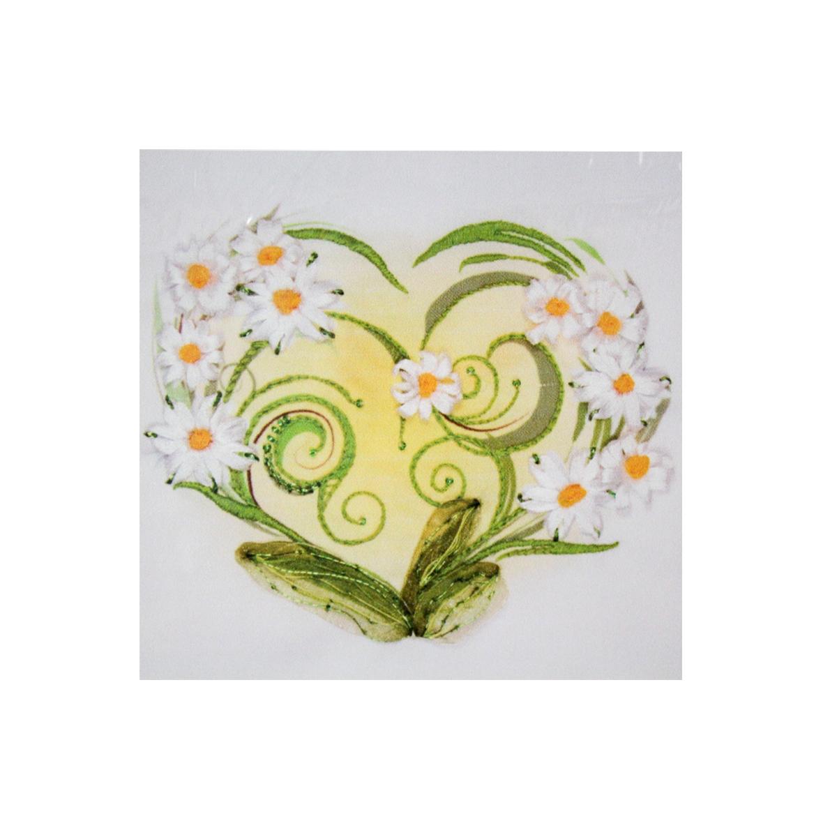 Набор для вышивания бисер, ленты Матренин Посад Ромашки-сердце, 28 см х 34 см. 7028484078
