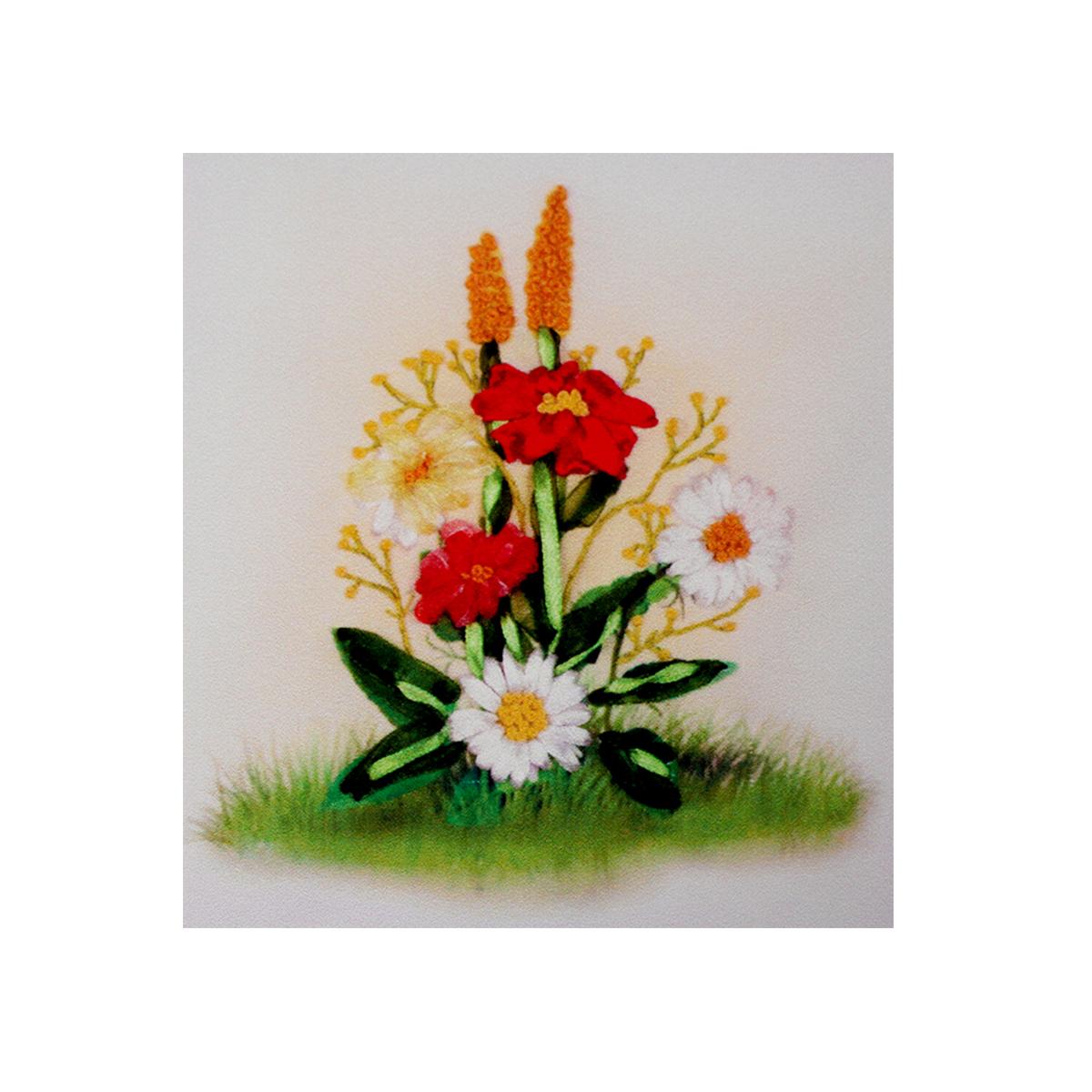 Набор для вышивания бисер, ленты Матренин Посад Ромашки с цветочками, 28 см х 34 см. 7025484081