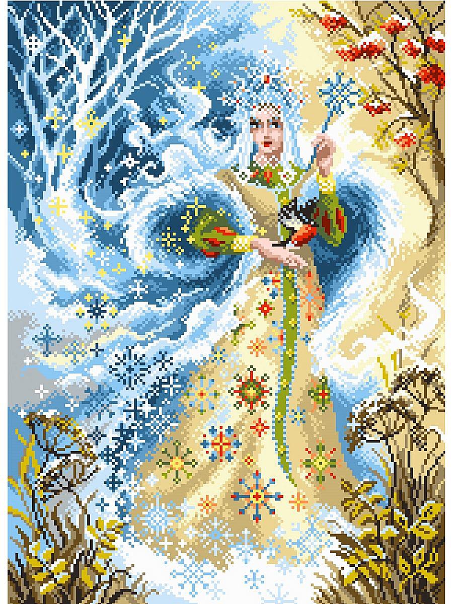 Канва с рисунком Матренин Посад Волшебница зима. 1703484086Размер: 33x45 см Рисунок полностью напечатан на канве. Указана цветовая карта ниток. Вышивать рекомендуется мулине в 3 сложения.