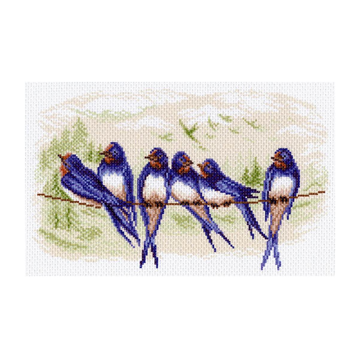 Канва с рисунком Матренин Посад Ласточки, 24 см х 35 см. 1558488522Размер: 24x30 см Рисунок полностью напечатан на канве. Указана цветовая карта ниток. Вышивать рекомендуется мулине в 3 сложения.