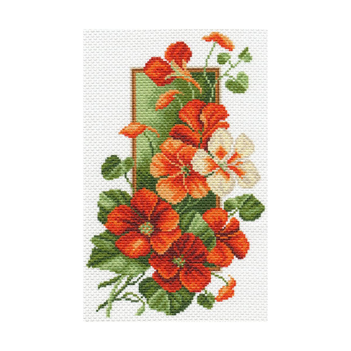 Канва с рисунком Матренин Посад Настурция, 24 см х 35 см. 1600488527Размер: 24x30 см Рисунок полностью напечатан на канве. Указана цветовая карта ниток. Вышивать рекомендуется мулине в 3 сложения.