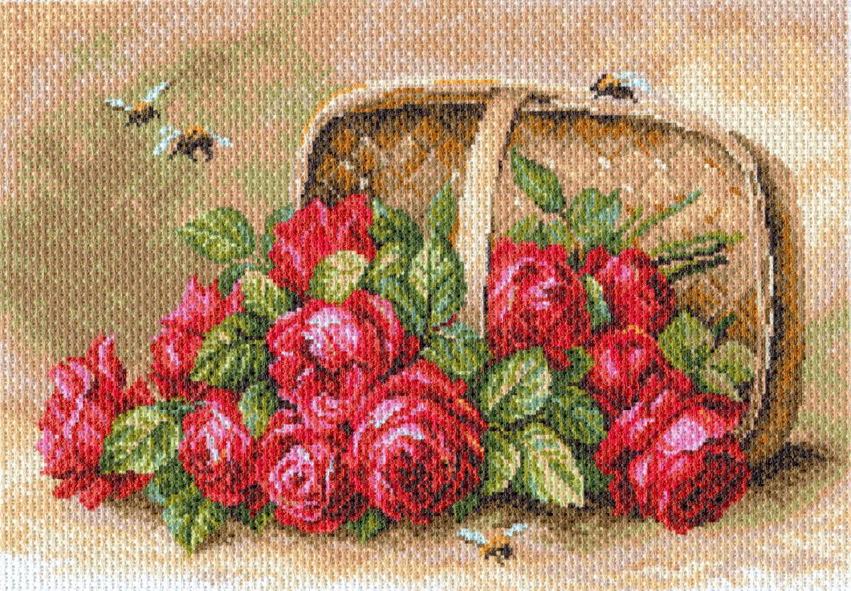Канва с рисунком Матренин Посад Знойные розы, 33 см х 45 см. 1704494745Размер: 33x45 см Рисунок полностью напечатан на канве. Указана цветовая карта ниток. Вышивать рекомендуется мулине в 3 сложения.