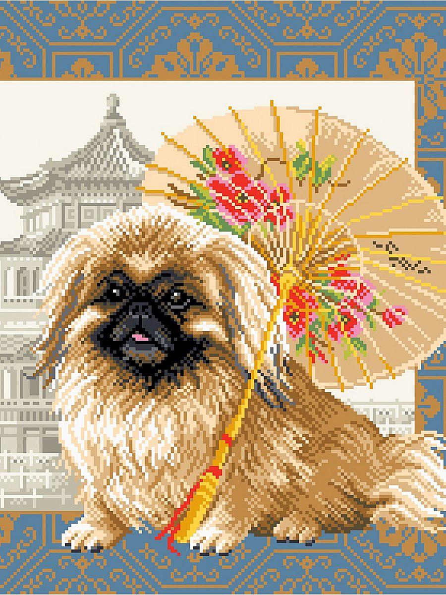 Канва с рисунком Матренин Посад Пекинес в Пекине, 41 см х 41 см. 1694494750Размер: 33x45 см Рисунок полностью напечатан на канве. Указана цветовая карта ниток. Вышивать рекомендуется мулине в 3 сложения.