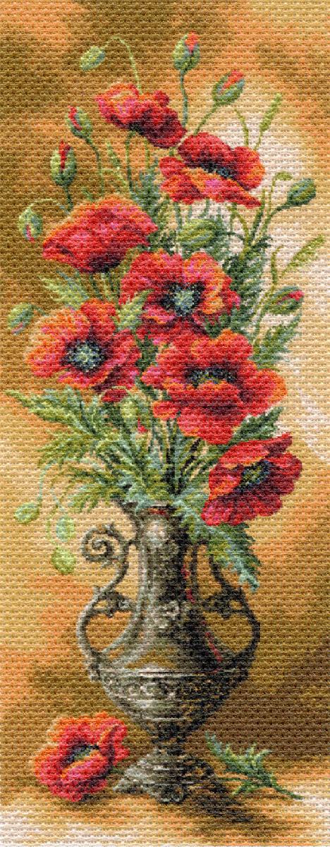 Канва с рисунком Матренин Посад Пылающие маки, 40 см х 90 см. 1706494752Размер: 33x45 см Рисунок полностью напечатан на канве. Указана цветовая карта ниток. Вышивать рекомендуется мулине в 3 сложения.