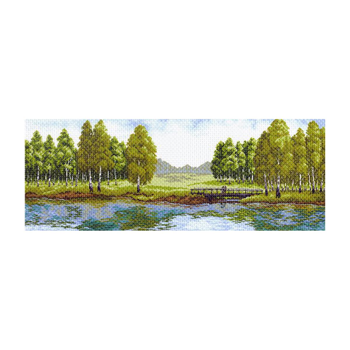 Канва с рисунком Матренин Посад Летний полдень, 40 см х 90 см. 1562549737Размер: 33x45 см Рисунок полностью напечатан на канве. Указана цветовая карта ниток. Вышивать рекомендуется мулине в 3 сложения.