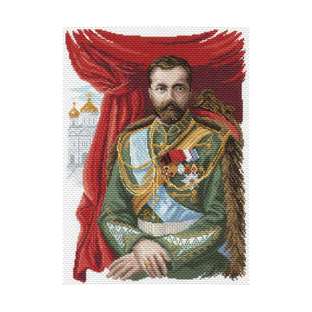 Канва с рисунком Матренин Посад Император Николай 2, 33 см х 45 см. 1681549741Размер: 33x45 см Рисунок полностью напечатан на канве. Указана цветовая карта ниток. Вышивать рекомендуется мулине в 3 сложения.