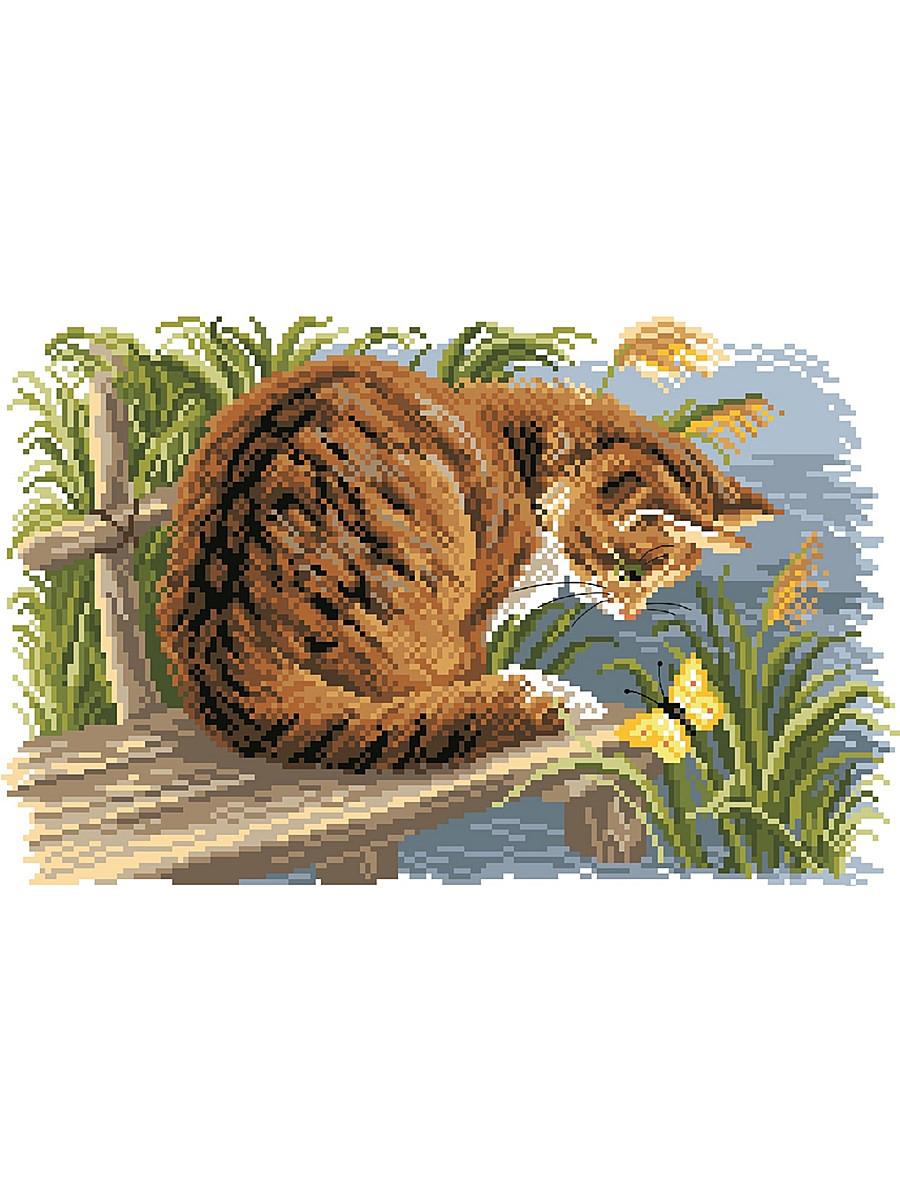 Канва с рисунком Матренин Посад Любопытный котенок, 24 см х 35 см. 1688549748Размер: 24x30 см Рисунок полностью напечатан на канве. Указана цветовая карта ниток. Вышивать рекомендуется мулине в 3 сложения.