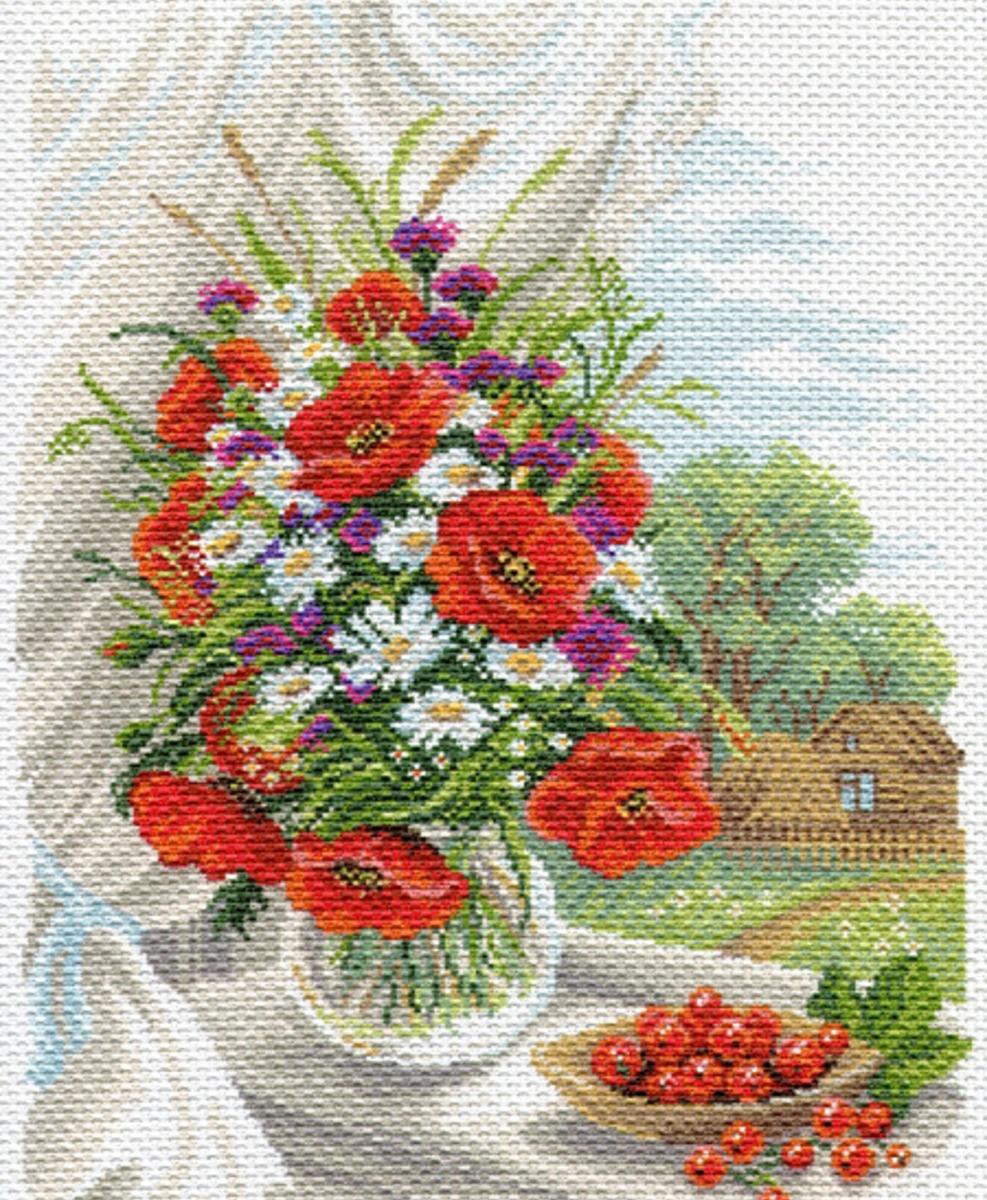 Канва с рисунком Матренин Посад Полевые цветы, 33 см х 45 см. 1687549750Размер: 33x45 см Рисунок полностью напечатан на канве. Указана цветовая карта ниток. Вышивать рекомендуется мулине в 3 сложения.