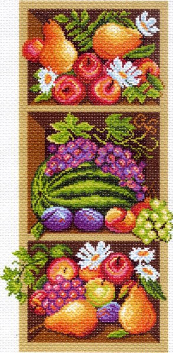 Канва с рисунком Матренин Посад Полка с фруктами, 22 см х 45 см. 1394549819Размер: 22x45 см Рисунок полностью напечатан на канве. Указана цветовая карта ниток. Вышивать рекомендуется мулине в 3 сложения.