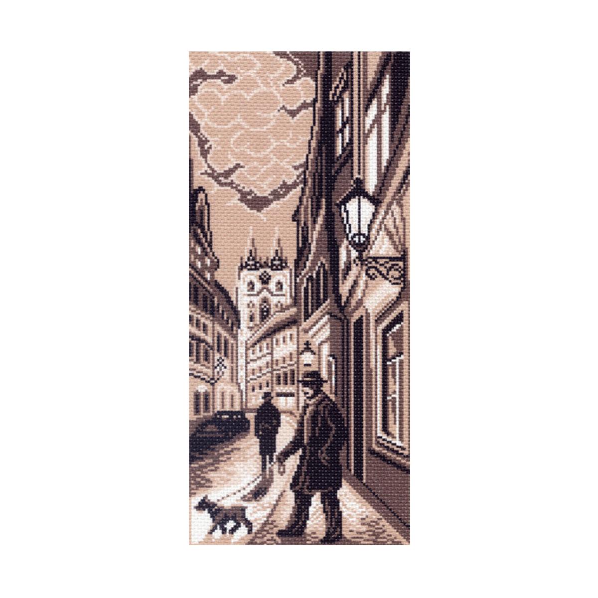 Канва с рисунком Матренин Посад Старый город, 22 см х 45 см. 1432549824Размер: 22x45 см Рисунок полностью напечатан на канве. Указана цветовая карта ниток. Вышивать рекомендуется мулине в 3 сложения.