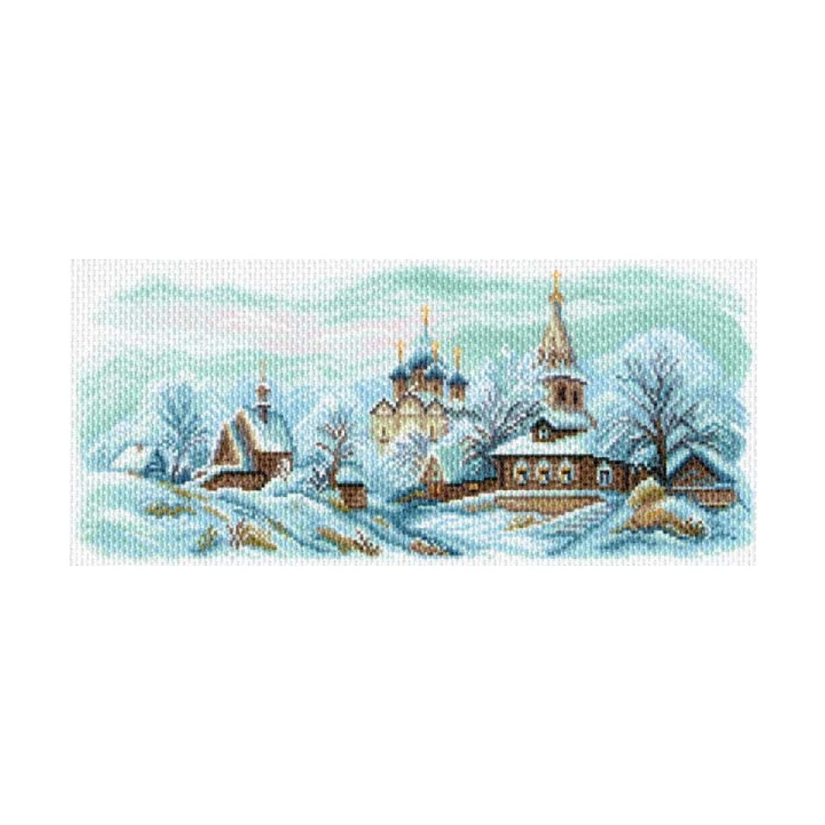 Канва с рисунком Матренин Посад Зимний Суздаль, 22 см х 45 см. 1625549839Размер: 22x45 см Рисунок полностью напечатан на канве. Указана цветовая карта ниток. Вышивать рекомендуется мулине в 3 сложения.